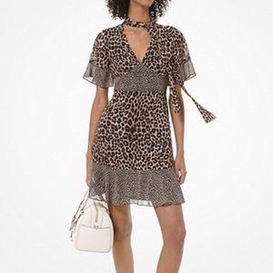 Michael Kors L Leopard cheetah necktie dress
